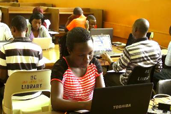 LUANAR students using OLAT and TEEAL in their library