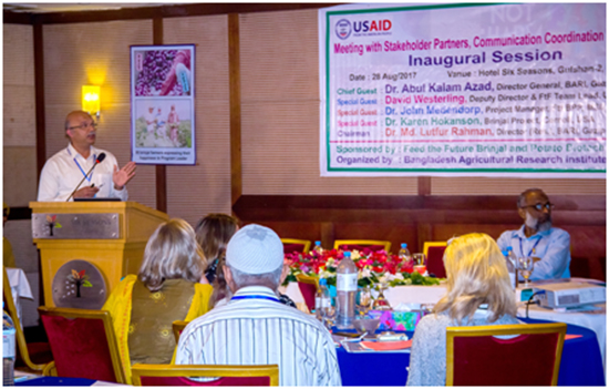 Dr. Vijay Paranjape addresses the meeting of stakeholders in the Feed the Future South Asia Biotechnology Partnership, at the August meeting in Dhaka.