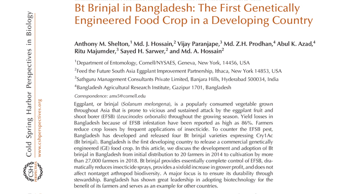 Bt Brinjal in Bangladesh: The First Genetically Engineered Food Crop in a Developing Country