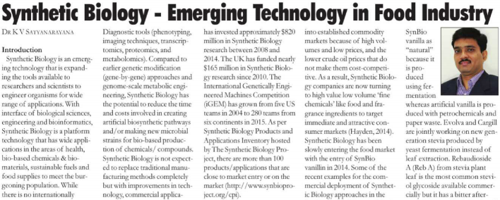 Synthetic biology : Emerging technology in food industry