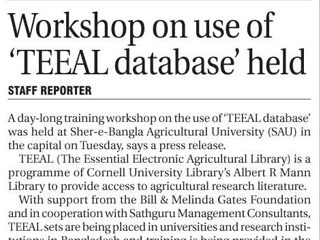 Workshop on use of 'TEEAL database' held