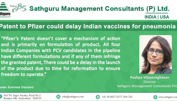 Patent to Pfizer could delay Indian vaccines for pneumonia