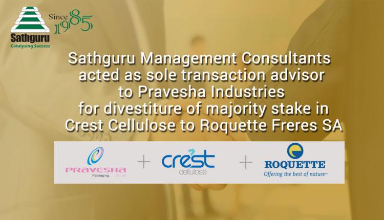Sathguru advises Pravesha Industries for divestiture of majority stake in Crest Cellulose