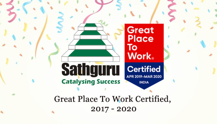 "Sathguru Management Consultants, India wins the prestigious ""GREAT PLACE TO WORK"" Certification"", A Hat-trick achievement – Wins certification three years continuously"