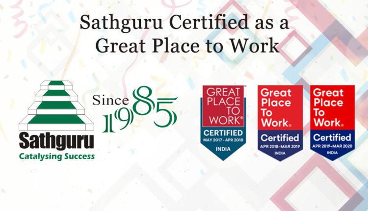 "Sathguru Management Consultants wins the prestigious ""GREAT PLACE TO WORK"" Certification"" for the third time in a row"